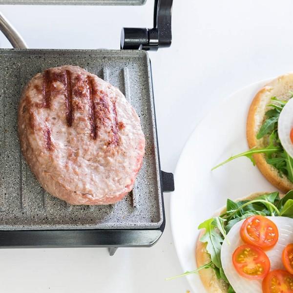 Rock'nGrill 700 W. Panini Grill, parrilla eléctrica, plancha y sandwichera con revestimiento de piedra RockStone. 700W y superficie de 23x14,5 cm. Con pinza de cierre y hueco recogecables.