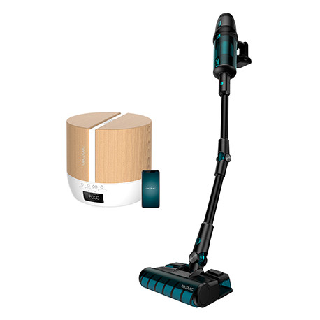 Pack Conga RockStar 900 Ultimate ErgoWet + PureAroma 550 Connected White Woody - Pack aspirador vertical + Humidificador