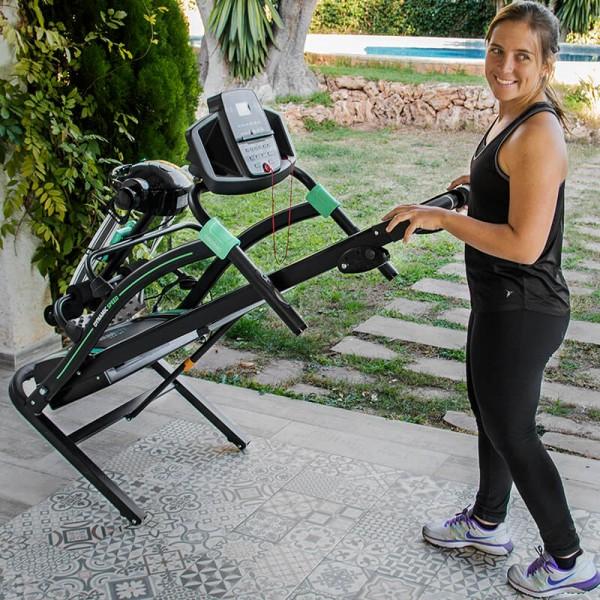 Cinta de correr RunFit Sprint Vibrator. Cinturón de masaje. Mancuernas. Pulsómetro y Pantalla LED. 12 programas predefinidos. Hasta 14 Km/h. Plegado hidráulico.