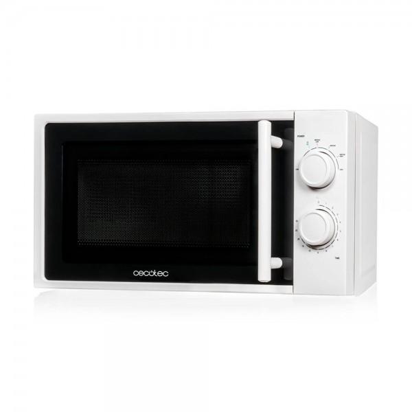 Cecotec White. Microondas blanco, input 1200W, output 700W, 20 l, 6 niveles.