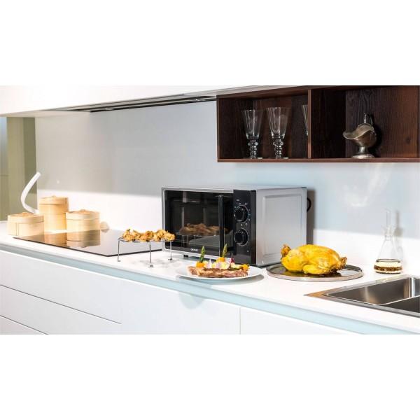 Cecotec Silver Grill. Microondas plateado con grill, input 1200 W, output 700W, grill de 900W, 20 l, 9 niveles.