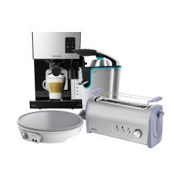 Crepera Fun Crepestone + Tostador Steel&taste Inox 1L+ Cafetera semi-automática Power Instant-ccino 20 + Exprimidor eléctrico Zitrus adjust 160 Black