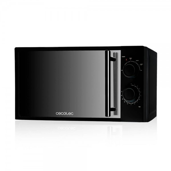 Microondas Cecotec All Black. Microondas negro con frontal de espejo, input 1200 W, output 700 W, 20l, 6 niveles.