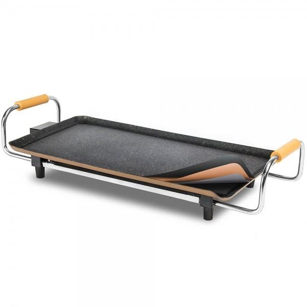 Grill eléctrico 2000 W. Plancha grill eléctrica para asar con revestimiento de piedra, gran formato, termostato regulable y asas
